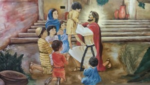 """Let the little children come unto me!"" Painting on the wall in our children's wing."